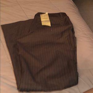 Wide leg brown pinstripes slacks